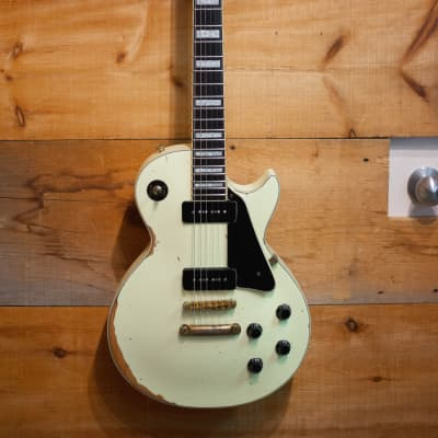 Palermo 1953 Les Paul Conversion Electric Guitar P90 Aged White RELIC W/ Gibson Case for sale