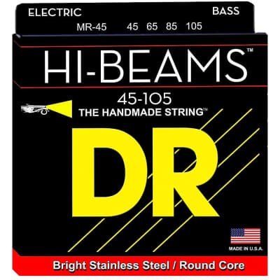 DR Strings MR-45 Hi-Beam Stainless Steel Medium Bass Guitar Strings 45-105