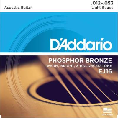 D'Addario EJ16 Phosphor Bronze Acoustic Guitar Strings Light, 12-53