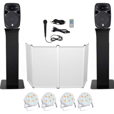"DJ Package w/ Dual 15"" Bluetooth Speakers+Mic+Tripod+Totem Stands+Facade+Lights"
