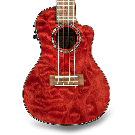 Lanikai QM-RDCEC Quilted Maple Red Cutaway Electric Concert Ukulele w/ Gig Bag