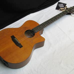 Luna Oracle Tattoo Cedar Grand Concert Cutaway Acoustic-Electric Guitar Natural
