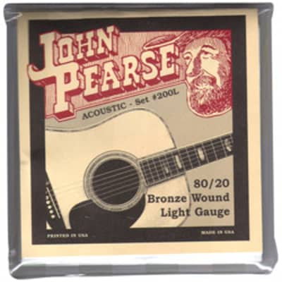 John Pearse 200L 80/20 Bronze Wound Acoustic Guitar Strings - Light 12-53 for sale