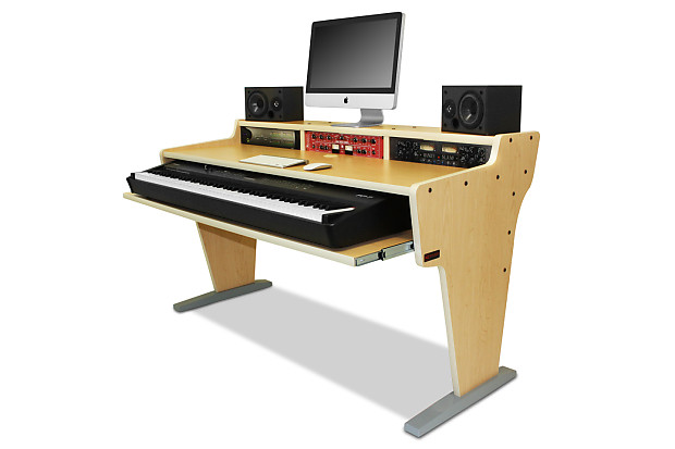 Az Studio Workstations Spike 88 Keyboard Music Production Desk In Maple
