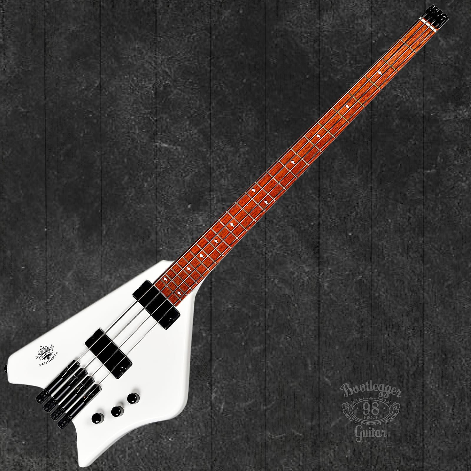 BootLegger Guitar Ace  Headless Bass White Stiletto Case &  Flask