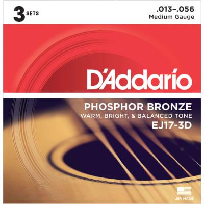 D'Addario EJ17-3D Phosphor Bronze Acoustic Guitar Strings 3-Pack, Medium Gauge