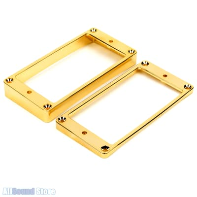 Metal Humbucker Pickup Ring Set SLANTED & CURVED Bottom for Gibson Guitar GOLD