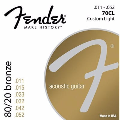 New Fender 70CL 8/20 Bronze Custom Light Acoustic Guitar Strings 073-0070-405 for sale