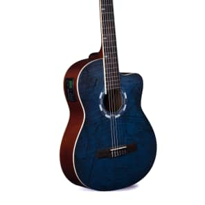 Lindo B-STOCK LDG-960CEQ Electro-Acoustic Classical Guitar with Canvas Carry Case - Picasso Blue for sale