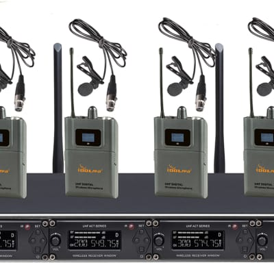 IDOLpro UHF-668L Professional 4 Channel Wireless Lavalier Microphones With New Pilot Technology