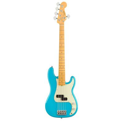 Fender American Professional II Precision Bass V Guitar, Maple Fingerboard, Miami Blue