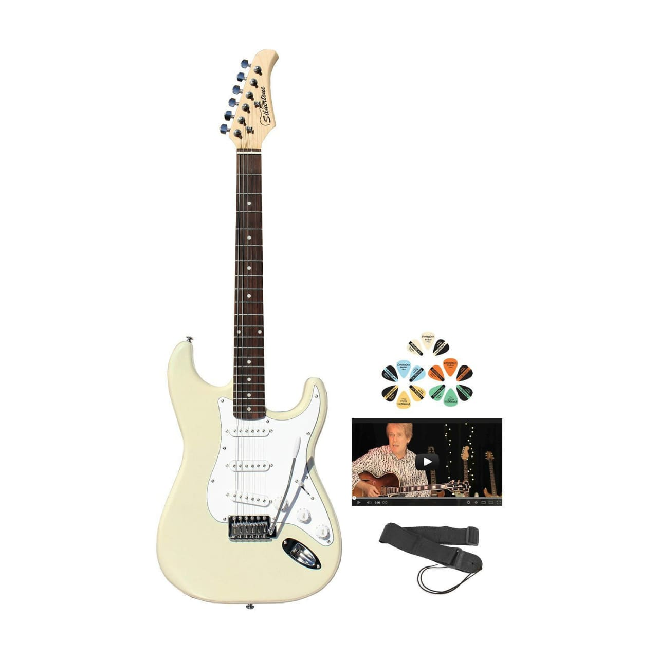 silvertone white ss15 electric guitar kit for beginners w reverb. Black Bedroom Furniture Sets. Home Design Ideas