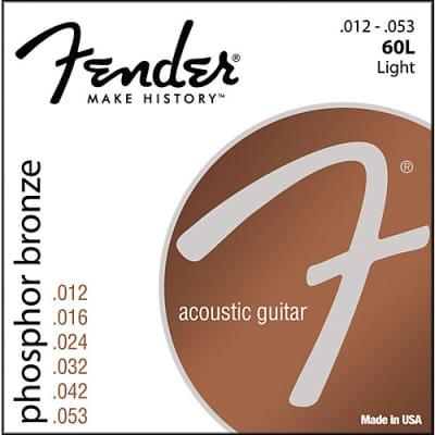 Fender Phosphor Bronze Acoustic Guitar Strings, Ball End, 60L .012-.053 Gauges, (6) 2016