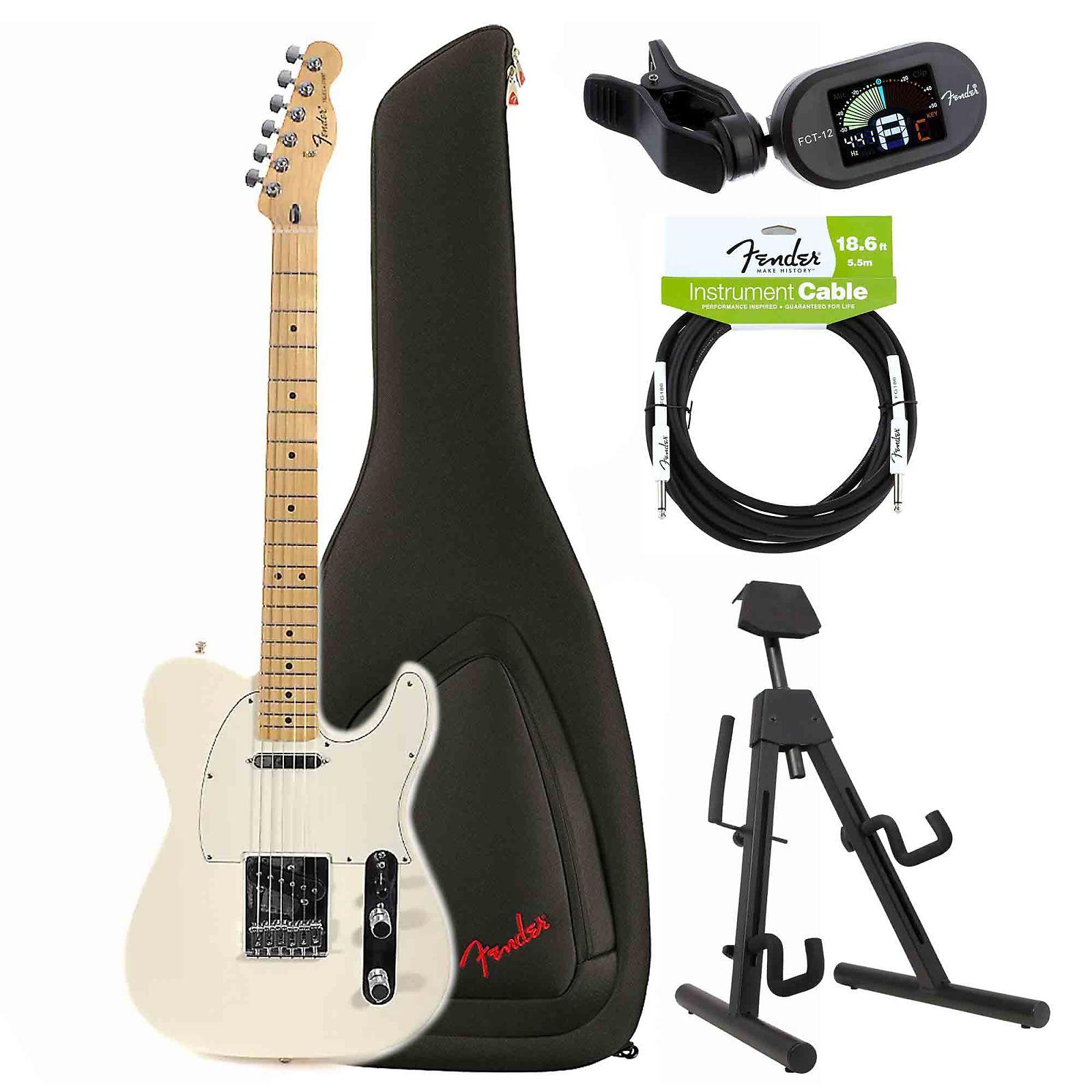 Fender Standard Telecaster MN Arctic White Bundle W/ Fender Gig Bag ...