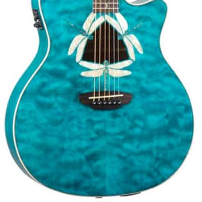 Luna Guitars Fauna Dragonfly Acoustic-Electric Guitar Quilted Maple Top for sale