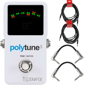 TC Electronic PolyTune 3 Polyphonic LED Guitar Tuner Pedal w/Buffer + Cables Bundle