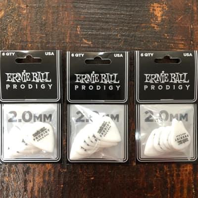 Ernie Ball 2.0mm White Standard Prodigy Picks 6 Picks PO9202 - 3 PACK
