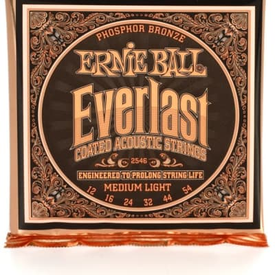Ernie Ball 2546 Everlast Phosphor Bronze Medium Light Acoustic Guitar Strings (12-54)