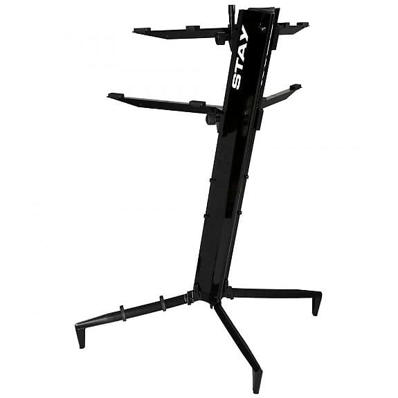 stay tower double tier keyboard stand black reverb. Black Bedroom Furniture Sets. Home Design Ideas