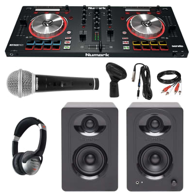 Numark MixTrack Pro III DJ Controller + Active Speakers + Headphones + Mic