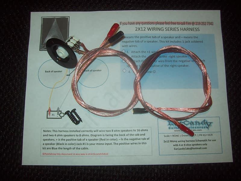 EarCandy 2x12 guitar amp speaker cab series wiring harness W/   Reverb