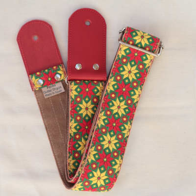 Pardo Guitar Strap Yellow  Star Suede Hippie 2'5 Inches Wide For Guitar & Bass
