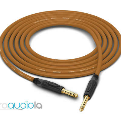 """Canare Quad Cable L-4E6S   Neutrik Gold 1/4"""" TRS to 1/4"""" TRS   Brown 45 Feet   45 Ft.   45'"""