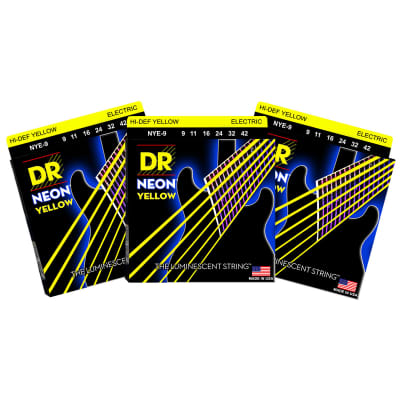 3 Sets DR Strings NYE-9 Neon Hi-Def Yellow Light 9-42 Electric Guitar Strings