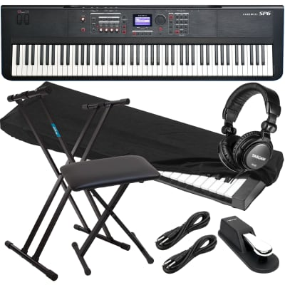Kurzweil SP6 88-Key Stage Piano, Keyboard Stand, Bench, Sustain Pedal, Tascam TH02, (2) 1/4 Cables, Dust Cover Bundle