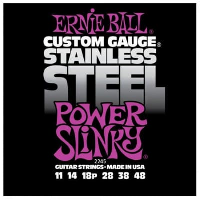 Ernie Ball Stainless Steel Power Slinky Electric Guitar Strings 11-48