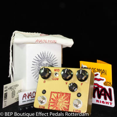 Analogman Sun Lion with NKT-275 White Dot High Gain 9V DC 2014 s/n 741, booster side with RCA