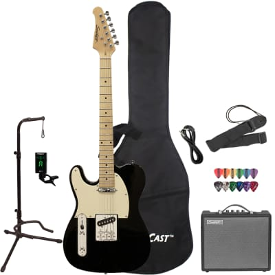 Sawtooth ET Series Left-Handed Electric Guitar with Gig Bag, 10 Watt Amp, and Accessories, Black with Aged White Pickguard for sale