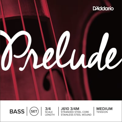 D'Addario Prelude Bass Strings, 1/2, D- Stainless Steel Wound/Stranded Steel Core
