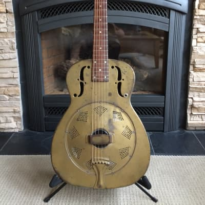 National Duolian Resonator 1937 Gold w/Highlander iP-1X inline biscuit pick-up for sale