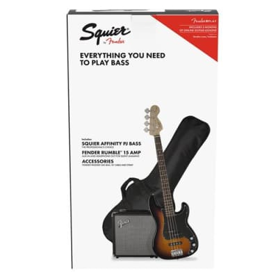 Squier Affinity Series Precision Electric Bass Guitar PJ Pack with Rumble Amplifier and Gig Bag, Brown Sunburst
