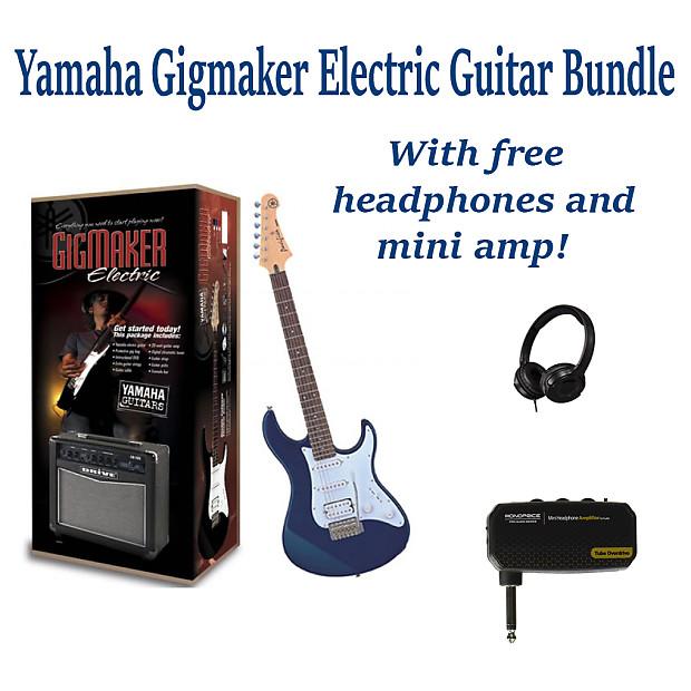 Yamaha Gigmaker Eg Electric Guitar Metallic Blue Bundle Pack With Free Amp Mini Amp And Headphones