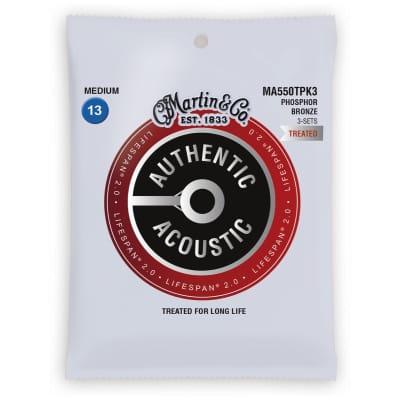 Martin MA550TPK3 Authentic Acoustic Lifespan 2.0 Phosphor Bronze Acoustic Guitar Strings - Medium (.13 - .56) 3-Pack