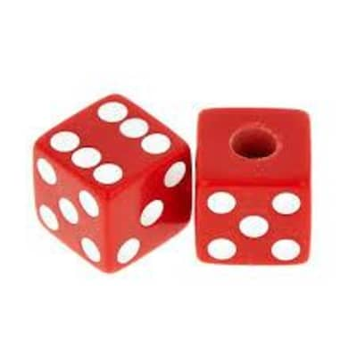 AllParts Red Dice Knobs - 2 Pack - Universal for Guitar and Bass PK-3250-026 for sale