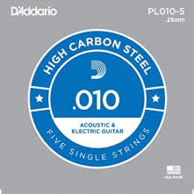 D'Addario PL010 Plain Steel Guitar 5 Pack .010