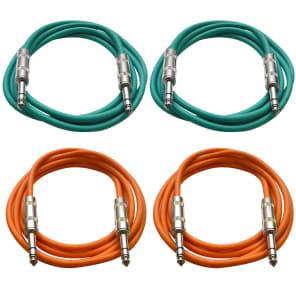"Seismic Audio SATRX-2-2GREEN2ORANGE 1/4"" TRS Patch Cables - 2' (4-Pack)"