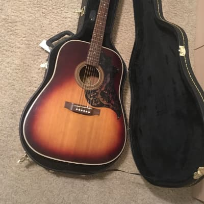 Melody  Plus Superb X38 jumbo size acoustic guitar  1970s Tobacco sunburst with new jumbo hard case for sale