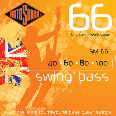 Rotosound SM66 Stainless Steel Round Wound Bass Guitar Strings 40-100
