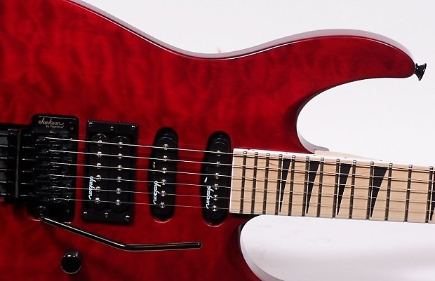 Jackson Js34q Dinky Electric Guitar Trans Red Flame Top