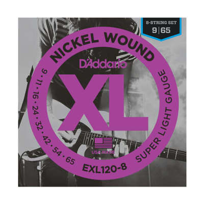 D'Addario EXL120-8 Nickel Wound 8-String Electric Guitar Strings Super Light 9-65