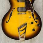 D'Angelico Excel DC Semi-Hollow Guitar, Vintage Sunburst, Pau Ferro Fingerboard, Duncan Pickups image
