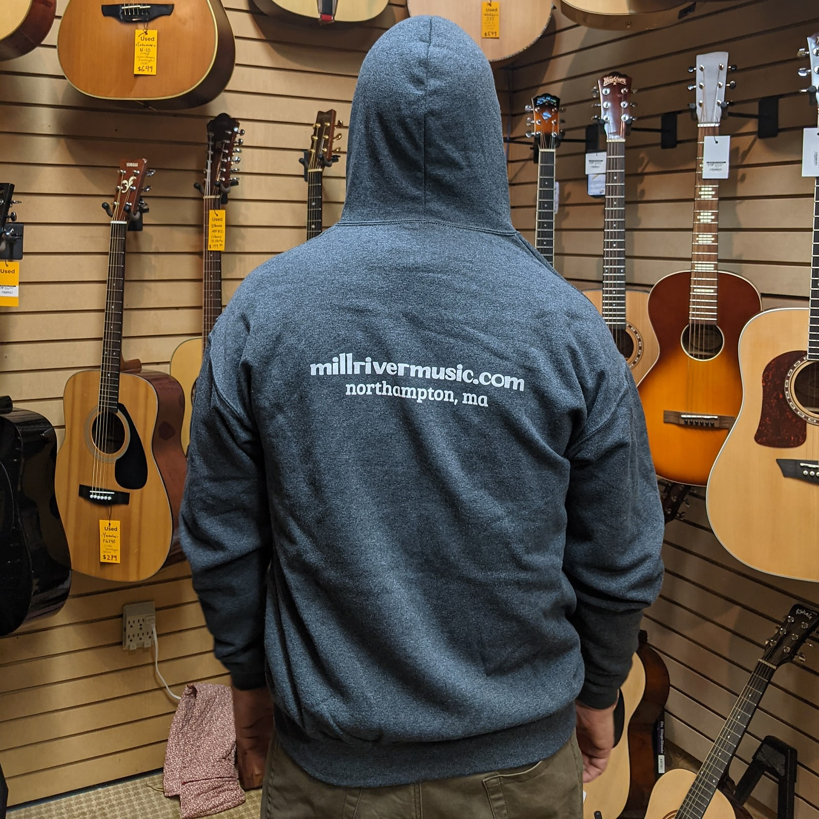 Mill River Music Zip Hoodie 1st Edition Main Logo Unisex Ch Heather Large