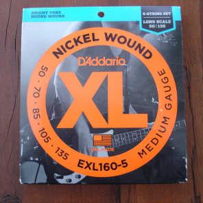 D'Addario EXL160-5 Nickel Wound Long Scale 5-String Bass Guitar Strings, Medium Gauge