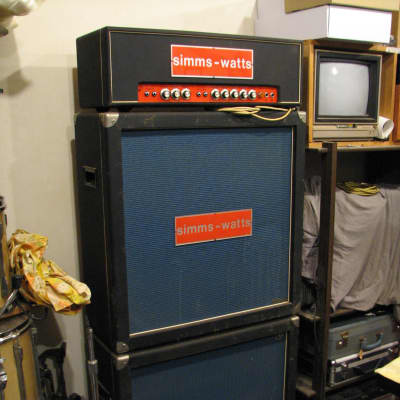 Simms Watts AP-100 1970-72 w/ two 4x12 Simms Watts cabinets and covers for sale