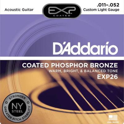 D'Addario EXP26 Coated Custom Light Phosphor Bronze Acoustic Guitar Strings 11-52