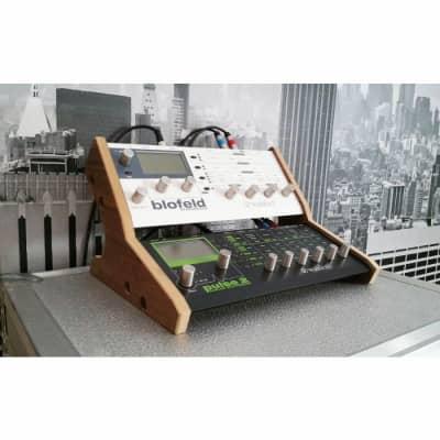Synths & Wood Oak Veneered Dual Stand For Waldorf Blofeld & Pulse 2